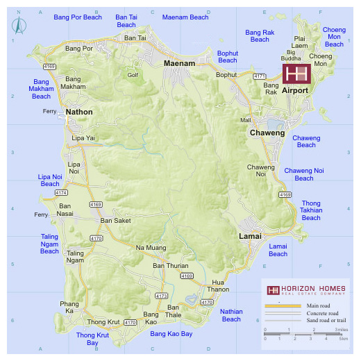 Koh Samui Property Location Map