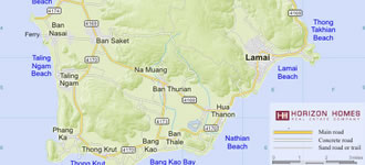 Map of Koh Samui, Thailand.
