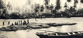 Historical photo of Koh Samui, Thailand coast and inhabitants.