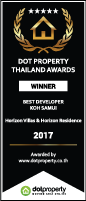 Dot Property Award 'Best Developer Koh Samui 2017' awarded to Horizon Homes.