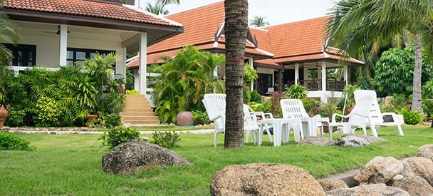 Garden in Phuket with a sea view.
