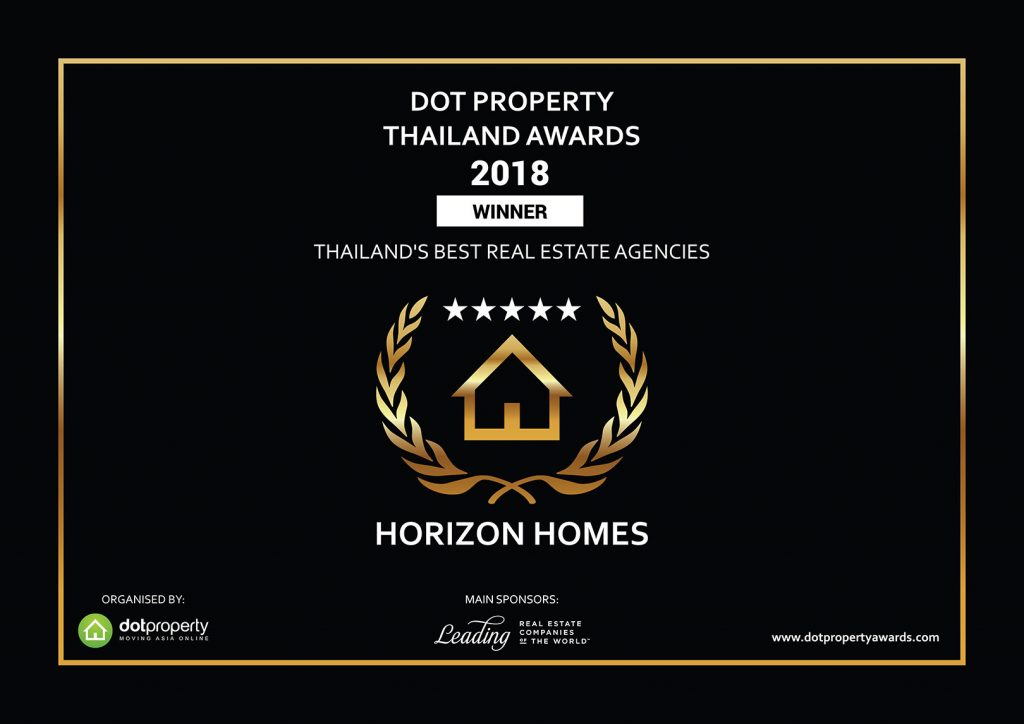 Digital version of the Dot Property Thailand Award for Thailand's Best Real Estate Agencies, awarded to Horizon Homes in 2018.