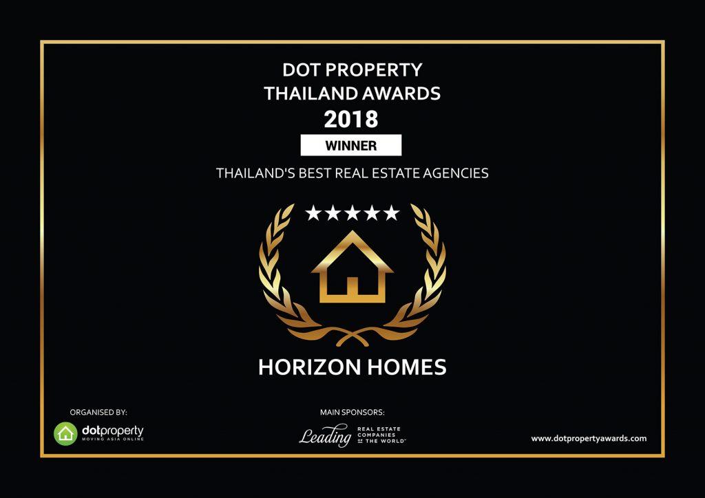 Version numérique du prix Dot Property Thailand attribué aux meilleures agences immobilières thaïlandaises, attribué à Horizon Homes en 2018.