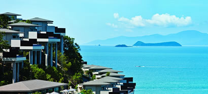 Koh Samui hillside villas overlooking the sea.