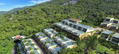 Koh Samui hillside villas nestled amongst the trees.