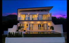 Modern 3-bedroom villa during sunset, Koh Samui.
