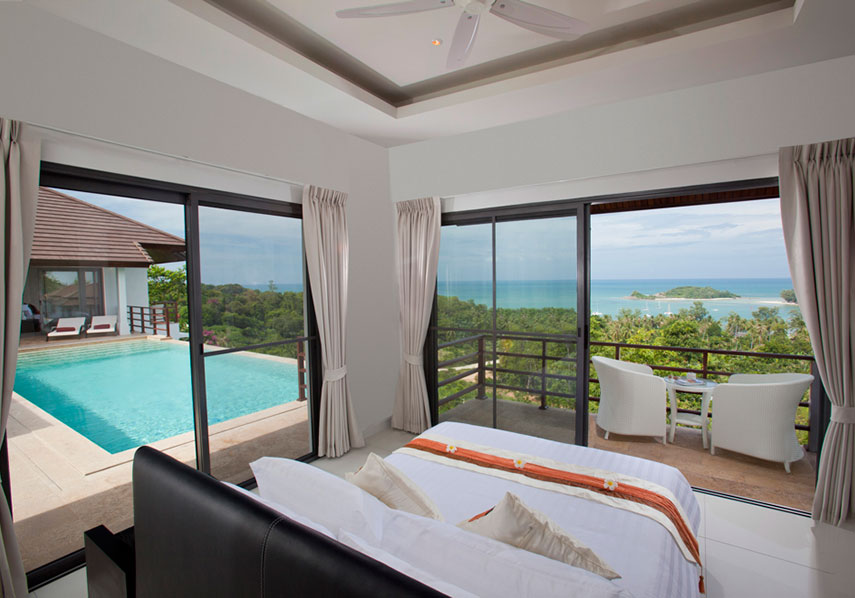 Villa Manadala finished bedroom with sea view.