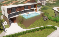 Computer render of 3-level house with swimming pool.