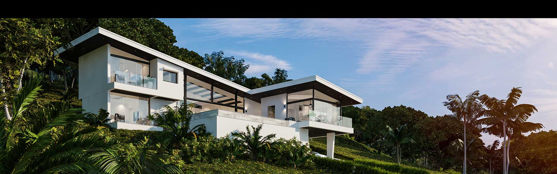 Computer generated image of luxury home in Koh Samui, Thailand.