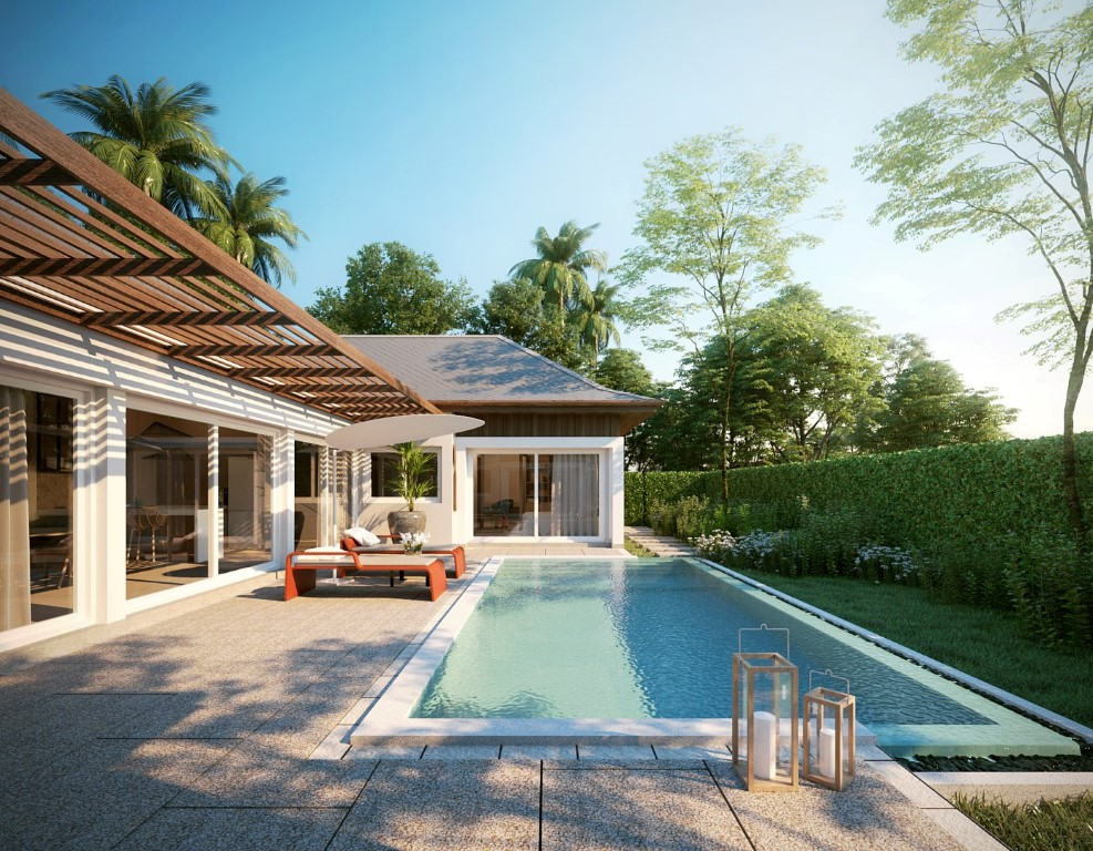 exterior area with private pool