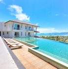 Communal pool with stunning sea views