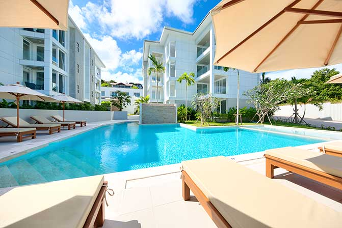 Condominium complex with outdoor pool; Koh Samui, Thailand.