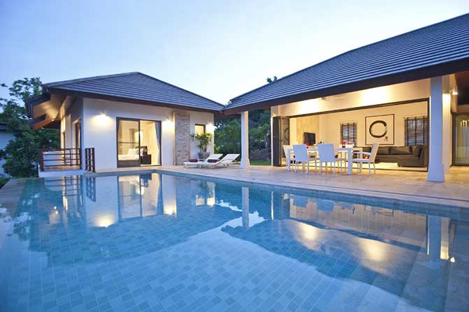 带室外游泳池的别墅;泰国苏梅岛。