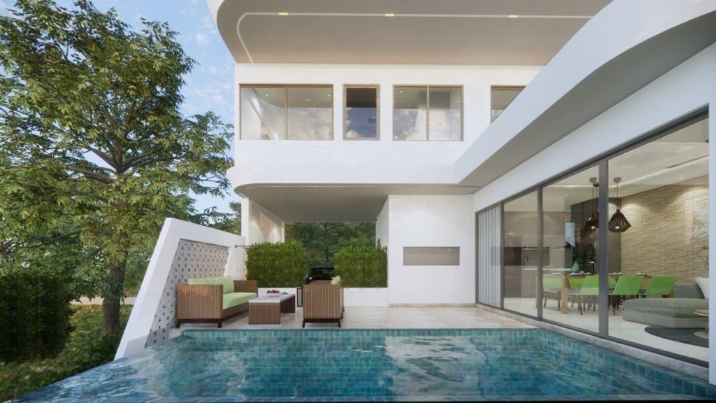 3 bedroom garden villa close to the beach